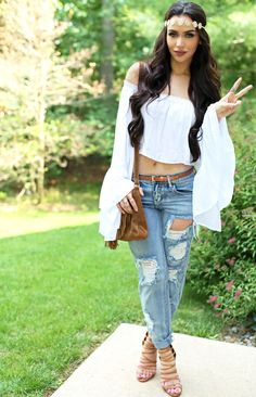 Boho Indah White Flowy Crop Top Fringe Purse: 2 Years Old, Jeans One Teaspoon, Tan Heels: Last Year Just Fab The Beauty Bybel Carli Bybel Fashion, Summer Outfits, Cute Outfits, Boho Fashion, Fashion Outfits, Poses, Fashion Over 40, Spring Summer Fashion, Dress To Impress