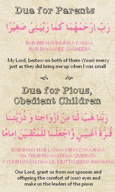 Dua for Parents & Dua for Pious, Obedient Children (Dua Card made for a client)