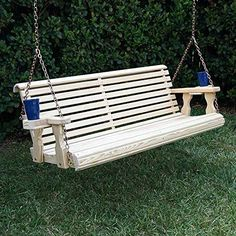 Amish Heavy Duty 800 Lb Roll Back Treated Porch Swing With Hanging Chains And Cupholders Foot, Semi-Solid White Stain) Pergola Swing, Pergola Patio, Pergola Plans, Corner Pergola, Pergola Cover, Pergola Kits, Pergola Ideas, Porch Ideas, Rustic Pergola