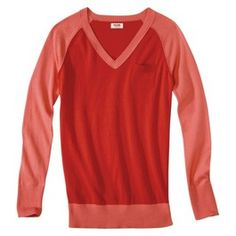 Mossimo Supply Co. Juniors Long Sleeve V Neck Sweater - Assorted Colors in Coral Small $18