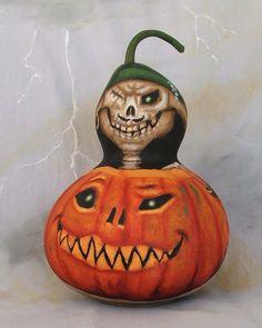One Eyed Jacque Pierre skeleton pumpkin gourd by SuzysSantas, $60.00