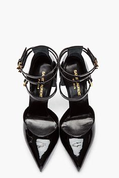 Saint Laurent Paris SS 2013 Black  Triple-Strap Pumps