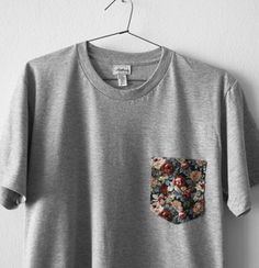 Image of FRENCH FLOWERS POCKET TEE (grey)