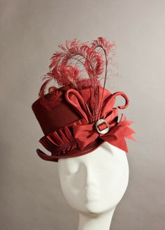 Ruby Red 'Wellington' Mini Top Hat