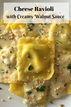 Cheese Ravioli with Creamy Parmesan and Walnut Sauce