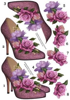 Stunning Shoes Belle Roses 8 Step Decoupage Sheet on Craftsuprint designed by Anne Lever - This A4 sheet contains the image of a pair of purple high heeled shoes embellished with beautiful belle roses, and seven other layers of step by step decoupage, making eight in total. This is designed as a stand alone topper for you to put with your stash, or other backgrounds. - Now available for download!