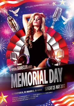 Memorial Day Free Flyer Template - http://freepsdflyer.com/memorial-day-free-flyer-template/ Enjoy downloading the Memorial Day Free Flyer Template by Styleflyers!  #4ThJuly, #Club, #IndependenceDay, #MemorialDay, #Party, #Usa