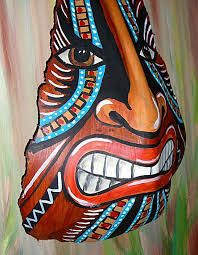Tiki African Mask painted on Palm Frond by CurioBay on Etsy Palm Tree Crafts, Palm Tree Art, Palm Tree Leaves, Palm Trees, Palm Frond Art, Palm Fronds, Garden Crafts, Garden Art, Tiki Faces