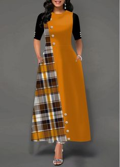 Party Dresses For Women Button Embellished Plaid Print Pocket Dress Source by fashionrotita dresses design Latest African Fashion Dresses, African Dresses For Women, Women's Fashion Dresses, Modest Fashion, Stylish Dresses, Casual Dresses, Dress Neck Designs, Necklines For Dresses, Maxi Dress With Sleeves