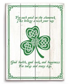 Look what I found on #zulily! 'For Each Petal On The Shamrock' Wall Art #zulilyfinds