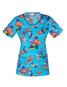 9e4dde4d2d4 Contrast piping adds modern detail to the Tooniforms by Cherokee Women's  V-Neck Finding Nemo Print Scrub Top. Darts add shaping to the bright and  colorful ...