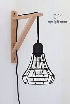 IKEA Hacks and DIY Hack Ideas for Furniture Projects  and Home Decor from IKEA -  DIY IKEA Hack Cage Light Sconce - Creative IKEA Hack Tutorials for DIY Platform Bed, Desk, Vanity, Dresser, Coffee Table, Storage and Kitchen Decor http://diyjoy.com/diy-ikea-hacks