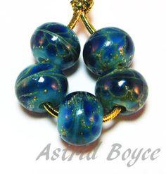 blue drift rounds handmade artisan lampwork beads sra b195