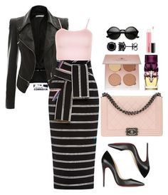 """""""Wrapped in stripes"""" by theglamcorridor ❤ liked on Polyvore featuring Preen, Chanel, Christian Louboutin, WearAll, Anastasia Beverly Hills, ZeroUV and MAC Cosmetics"""