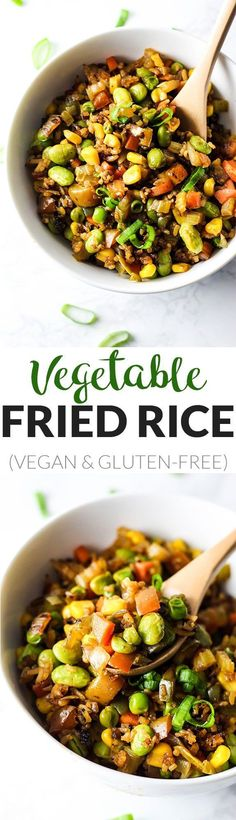 Easy vegetable fried rice that's done in 10 minutes and made with healthy, whole ingredients! This vegan & gluten-free meal is perfect for lunch or dinner.