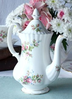 Royal Albert Moss Rose Coffee Pot An Elegant By NancysTeaShop $6500 cakepins.com