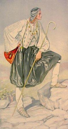 Greek shepherds costume including 'Vraka' trousers.  From Skyros (Aegean Islands), ca. 1900.