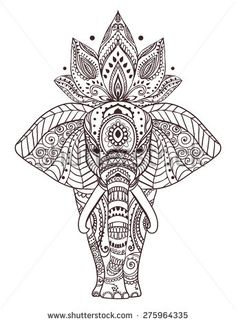 Greeting Beautiful card with Elephant. Frame of peacock made in vector. Perfect cards, or for any other kind of design, birthday and other holiday.Seamless hand drawn map with Elephant - koop deze stockvector op Shutterstock en vind andere afbeeldingen. Mandala Drawing, Mandala Art, Flower Mandala, Zentangle Patterns, Zentangles, Doodle Patterns, Henna Designs, Tattoo Designs, Elefante Hindu