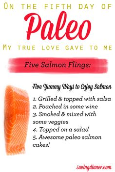 FIVE SALMON FLINGS.... what? Aren't you singing along?    4 crockpot birds, 3 spinach men, 2 turkey rubs and poultry that's hormone-free!  And our Holiday Sale ends tonight at midnight 12/17/2013  http://savingdinner.com/s/holiday-bundle-2013/