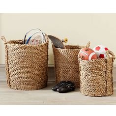 "Wisteria Seagrass Basket Set Storage  $55.30/set of 2      •Durable seagrass construction  •Handwoven  •Nesting baskets for easy storage  •small: 14""–16.25""dia. x 12""–14.5""h; •medium: 16.25""–18""dia. x 17.5""–22""h"