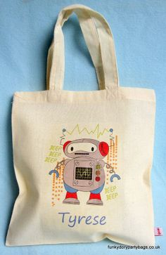Robot Party Bag by FunkyDoryPartyBags on Etsy, £3.00