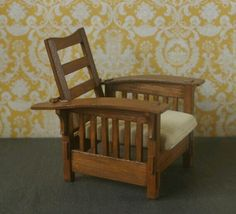1:12 scale replica Stickley style Morris Chair