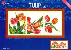 Hobby lavori femminili - ricamo - uncinetto - maglia: punto croce trittico tulipano