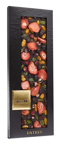 ChocoMe tummasuklaa 100g, maapähkinä, pistaasi, mansikka