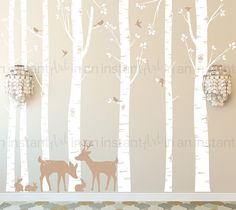 Seven Birch Tree Wall Decal with Deer and Bunny Custom Baby