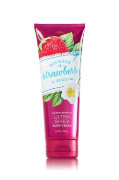 Bourbon Strawberry & Vanilla - Ultra Shea Body Cream - Bath & Body Works - Infused with luxuriously rich Shea Butter, our New Ultra Shea Body Cream provides 24 hours of nourishing moisture to soften even the driest skin. With soothing Aloe Butter, pampering Cocoa Butter and more Shea than ever before, our non-greasy formula melts into skin to provide beautiful fragrance and all day, all night hydration.