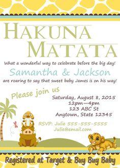 Lion King Baby Shower Invitation Julian party idea Pinterest