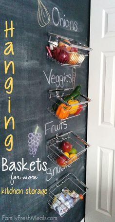 DIY Hanging Baskets for More Kitchen Storage
