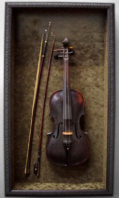 Nice way to display a keepsake my husbands grandfathers old violin athens art frame violin shadow box ccuart Image collections