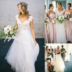 Wholesale Wedding Dresses - Buy Bohemian A-Line Wedding Dresses Affordable 2015 Lace Short Cap Sleeve V-Neck Open Backless White Ivory Tulle Beach Garden Rustic Bridal Gown, $124.39 | DHgate.com