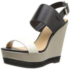 Report Women's Nessa Wedge Sandal,Black,6 M US