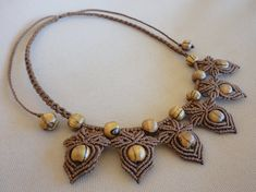 macrame necklace with wooden beads Hazelnut forest by Knotify