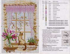 Schema punto croce - Quattro stagioni con gatto alla finestra | Hobby lavori femminili - ricamo - uncinetto - maglia