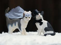 Wedding Cake Topper Cats, Bride and Groom, Animal Lover, Kitties, Top Hat, Veil, Romantic, Unique, Whimsical, Pet on Etsy, $45.00