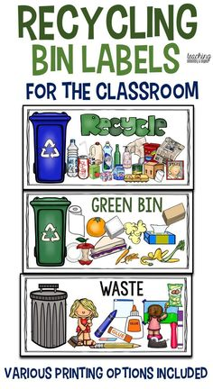 Professional life: These posters would be a great help to students to learn how to sort their recycling properly. I would use it in the classroom and the whole school to help give children a visual prompt for where appropriate materials go. Recycling Projects For School, Recycling For Kids, Recycling Bins, School Projects, How To Recycle, Recycling Games, Recycling Activities For Kids, Recycling Ideas, Earth Day Activities