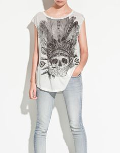 SKULL AND FEATHERS T-SHIRT - T-shirts - TRF - ZARA United States