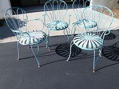 Antique Carre Sunburst Spring Steel Art Deco Victorian Garden Patio Arm Chair