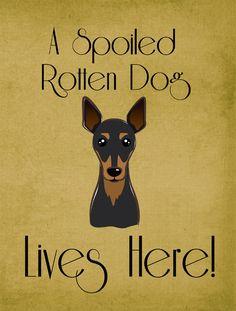 Min Pin Spoiled Dog Lives Here 2-Sided Garden Flag