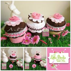 Felt Cupcakes by A Little Birdie Told Me (copyright protected) https://www.facebook.com/pages/A-Little-Birdie-Told-Me/153480098014671