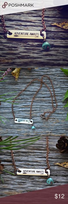 """""""Adventure Awaits"""" Charm Necklace Designed and handmade by me! This new handmade necklace is beautiful and a perfect addition to any outfit. The copper tone chain is almost 16.5 inches long and closes with a lobster clasp. ✅Price is firm unless bundled! ✅ Jewelry Necklaces"""