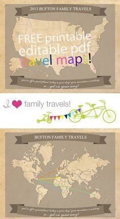 Free Printable Travel Maps from I Heart Family Travel. Free Printable Travel Maps from I Heart Family Travel. Travel With Kids, Family Travel, Summer Travel, Diy Voyage, Diy Papier, Paper Crafts, Diy Crafts, Thinking Day, Free Summer