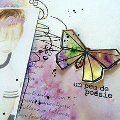 Tampons L'Encre & l'Image, papier et découpes 4h37, cardstock Ephéméria by Minimlescrap Scrapbooking, Distressed Painting, Tampons, Origami, Images, Layout, Blog, Ink, Paper
