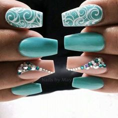 Wow get nails, how to do nails, turquoise nail designs, nails turquoise, te Teal Nail Art, Teal Nails, Fancy Nails, Bling Nails, Glitter Nails, Cute Nails, Pretty Nails, Nails Turquoise, Turquoise Nail Designs