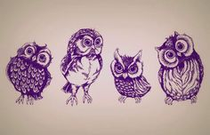 "Awesome Owl Tattoo!! Love the last one.. He's all like ""huh? O.o"""