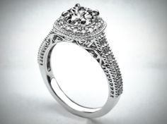 Filigree Gallery Diamond Halo Engagement Ring