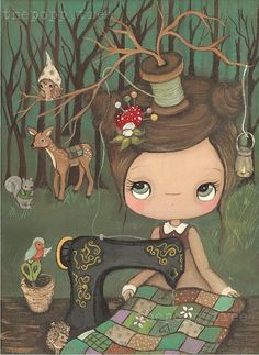 Items similar to Seamstress Print Animal Critter Forest Girl Hedgehog, Bird, Squirrel, Deer, Owl---The Forest Seamstress on Etsy Illustration Mignonne, Illustration Girl, Botanical Illustration, Alone Girl Pic, Forest Girl, Paper Artwork, Sewing Art, Tree Art, Illustrations
